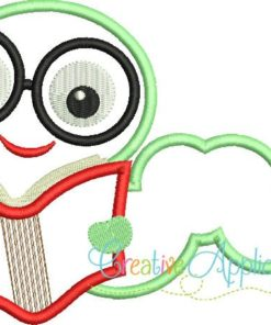 Applique creative appliques saved. Bookworm clipart embroidery