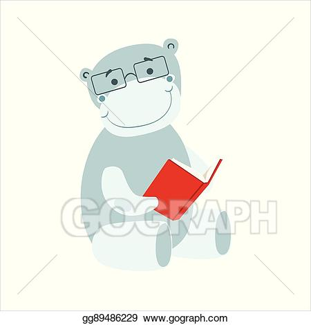 Bookworm clipart glass. Eps vector hippo smiling