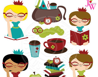 Girl reading etsy princess. Bookworm clipart lady