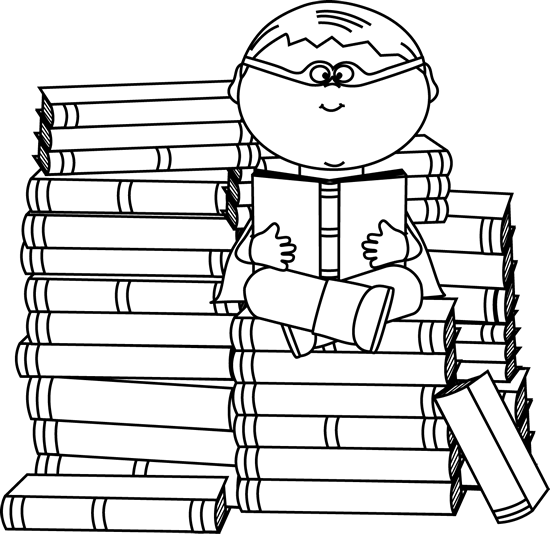 Black and white boy. Bookworm clipart superhero