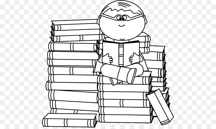 Black and white book. Bookworm clipart superhero