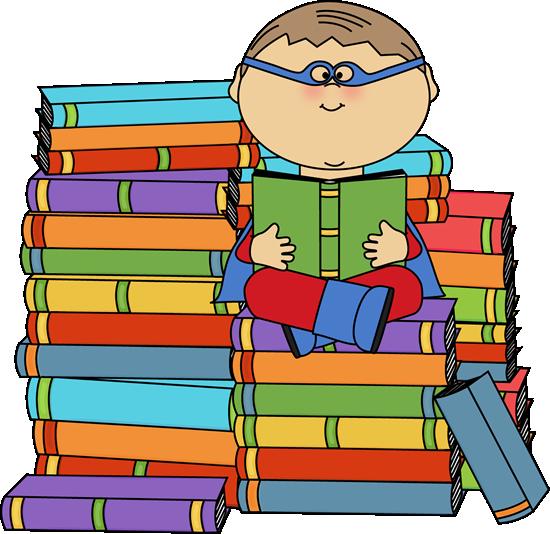 Super hero reading boy. Bookworm clipart superhero