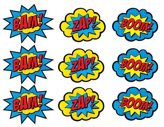 Superhero cupcake toppers zap. Boom clipart bam