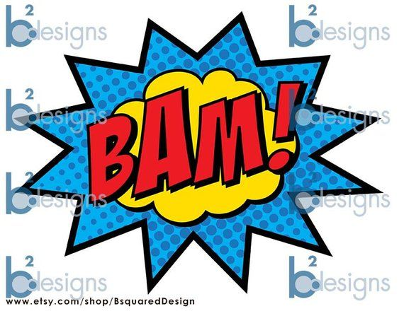 Superhero party signs pow. Boom clipart bam