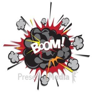 Explosion cloud scraps presentation. Boom clipart blast