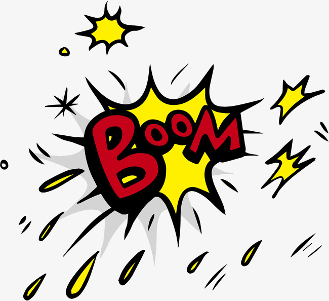 Yellow explosion png image. Boom clipart blast