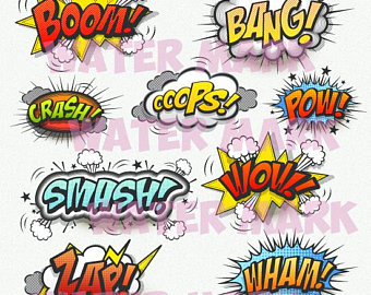 Boom clipart blast. Comic book etsy bang