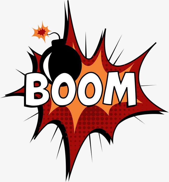 Red explosion pattern gules. Boom clipart blast