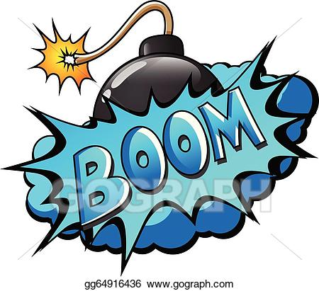 Vector art comic bomb. Boom clipart blue