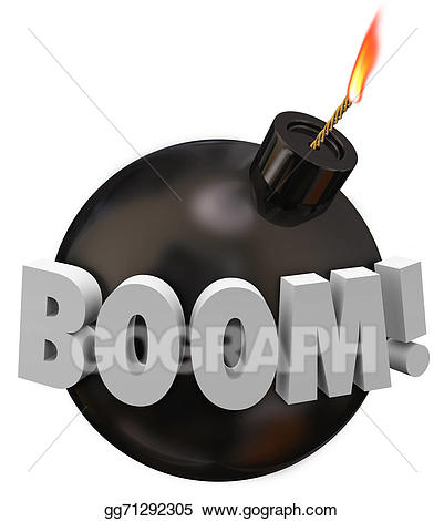 Drawing word round explosion. Boom clipart bomb