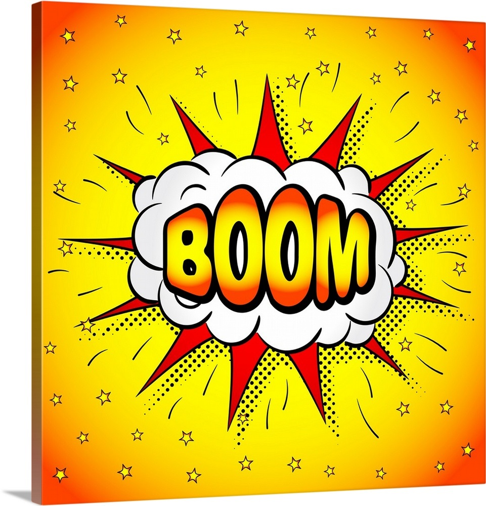 Boom clipart boom word. Comic book illustration of