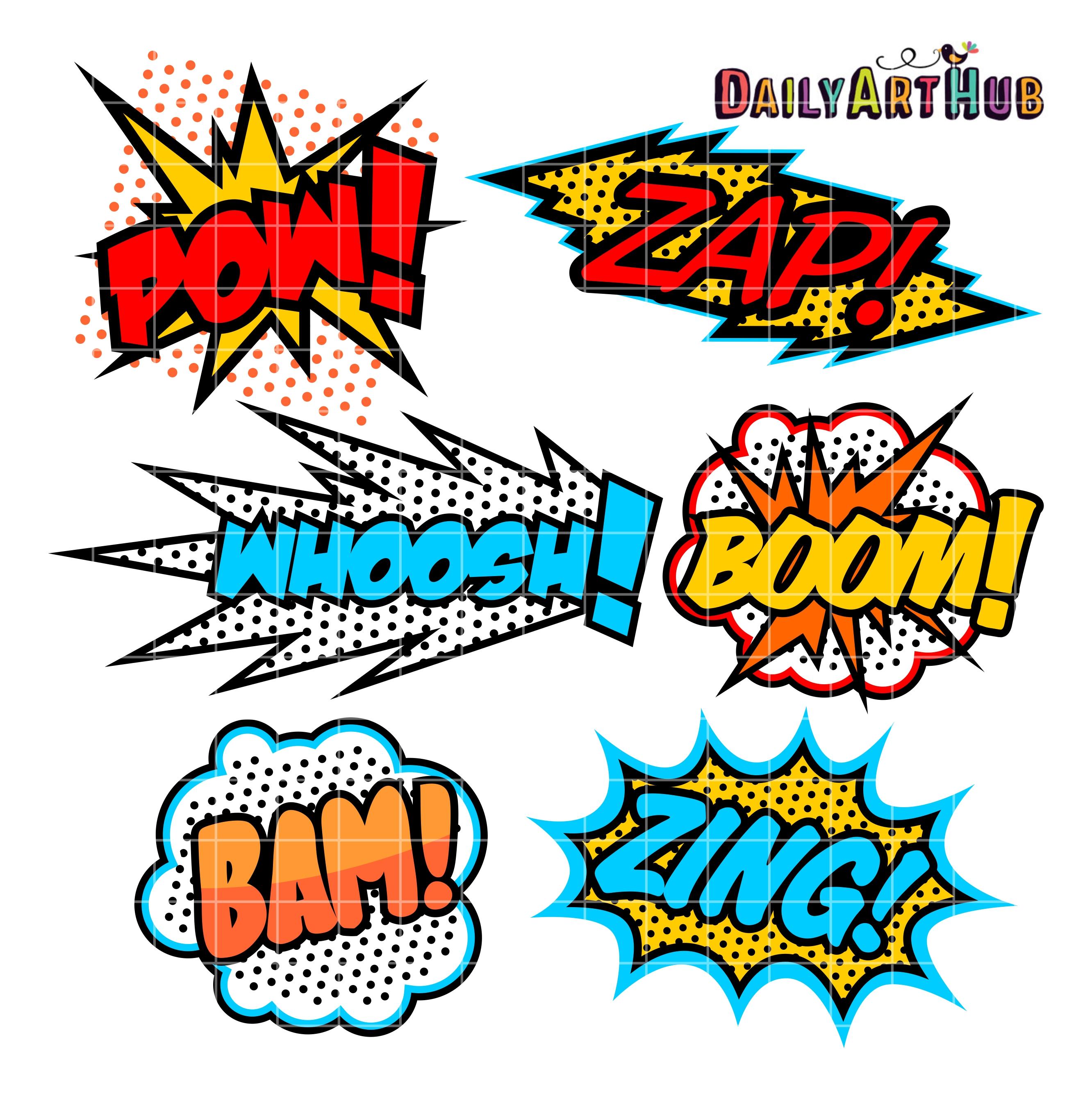 Superhero clip art set. Boom clipart callout