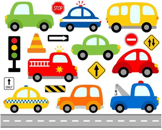 Boom clipart car. Cute cars digital clip