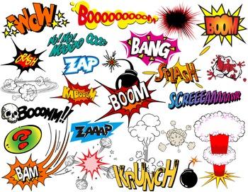 Boom clipart comic book. Superhero text bubbles clip