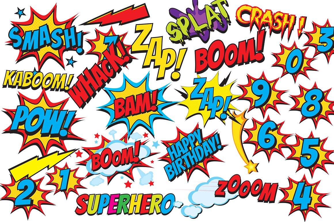 Boom clipart comic strip. Superhero clip art book