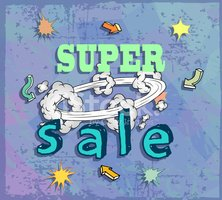 Boom clipart comic strip. Sale poster with stock