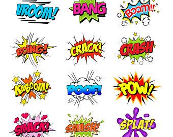 Splat etsy colorful noise. Boom clipart comic strip