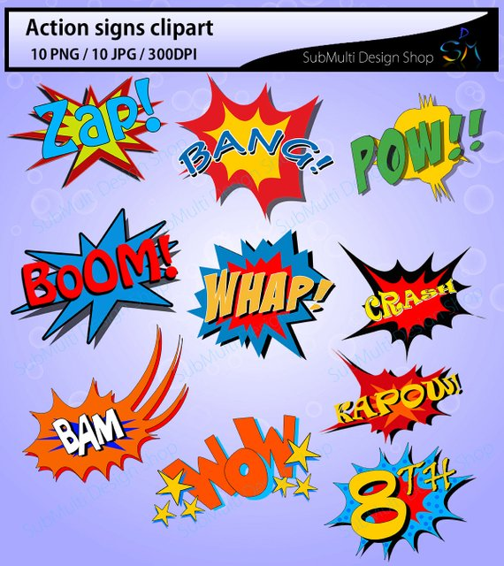 Action signs high quality. Boom clipart kapow