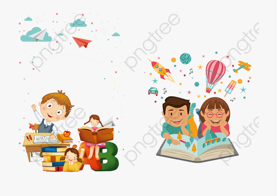 Kids reading studying storytime. Boom clipart kid