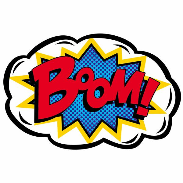 Style photo booth prop. Boom clipart pop art