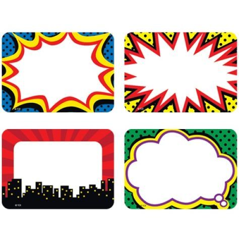 Superhero name tags labels. Boom clipart pow wow