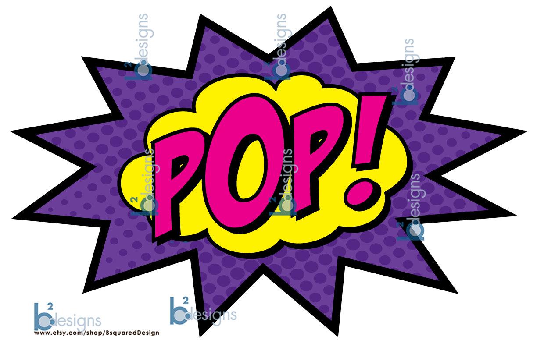 Boom clipart pow wow. Superhero party signs zap