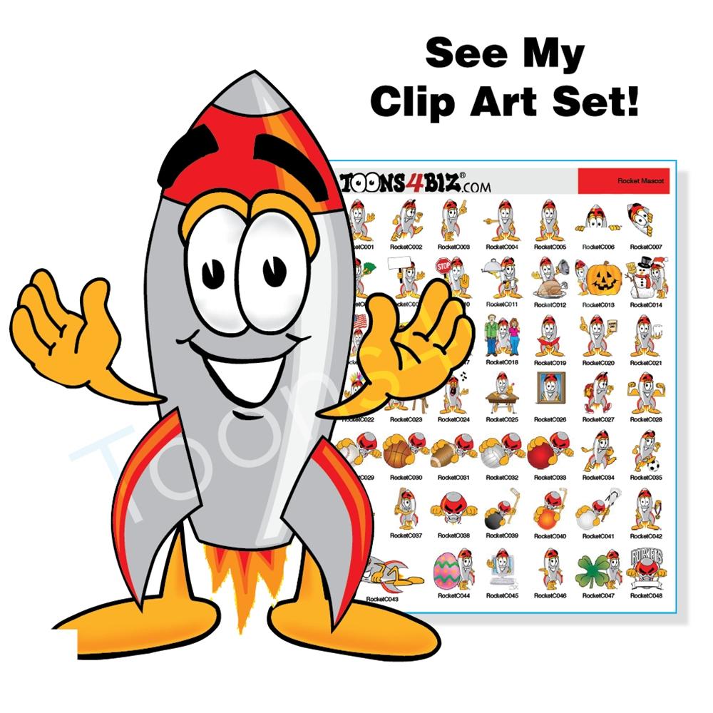 Boom clipart rocket blast. Mascot clip art bundle