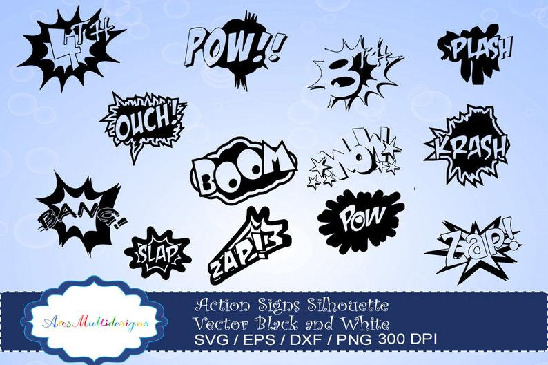 Boom clipart sign. Action signs svg silhouette