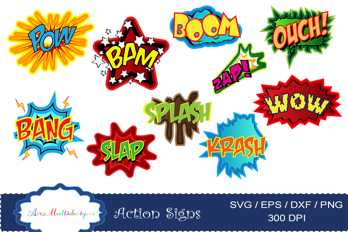 Action signs svg vector. Boom clipart sign