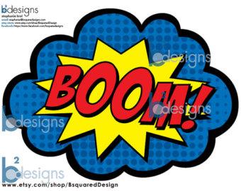 Boom clipart sign. Pow etsy superhero party