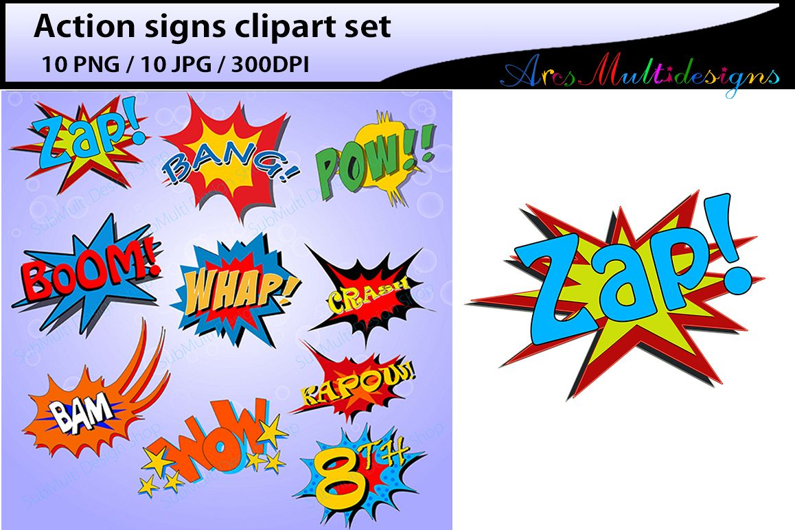 Boom clipart silhouette. Action signs high quality