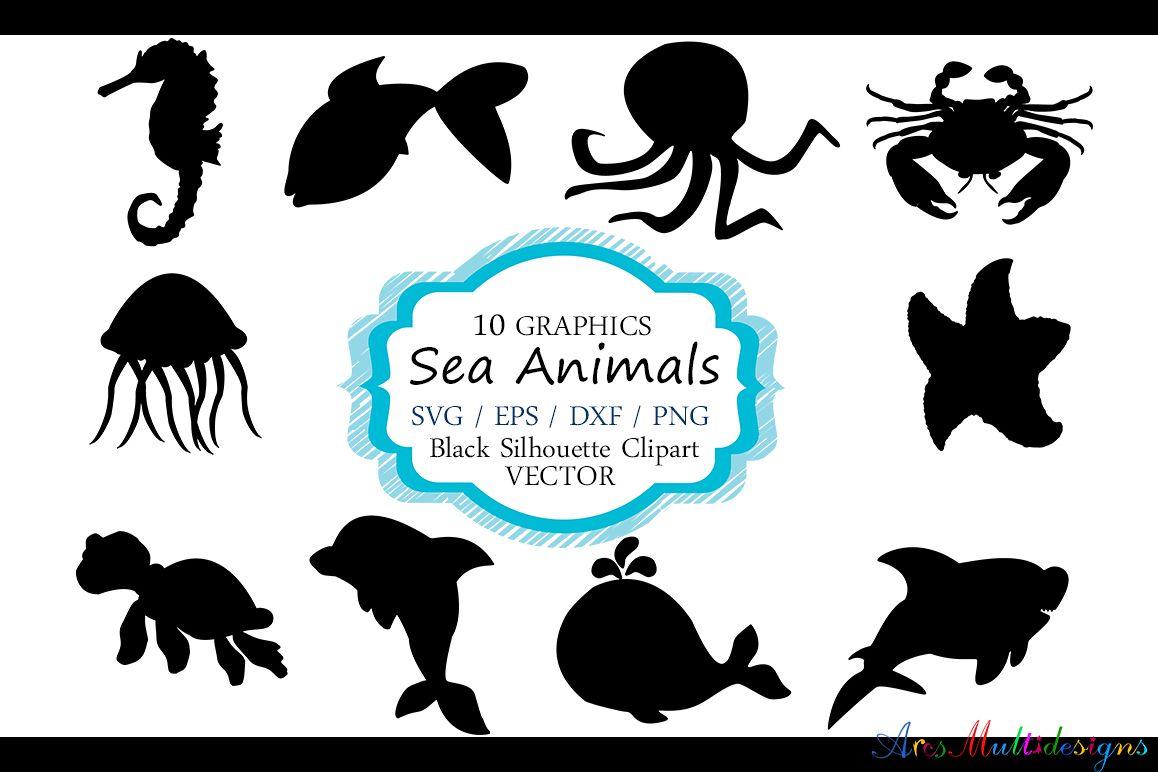 Boom clipart silhouette. Sea animals vector ani
