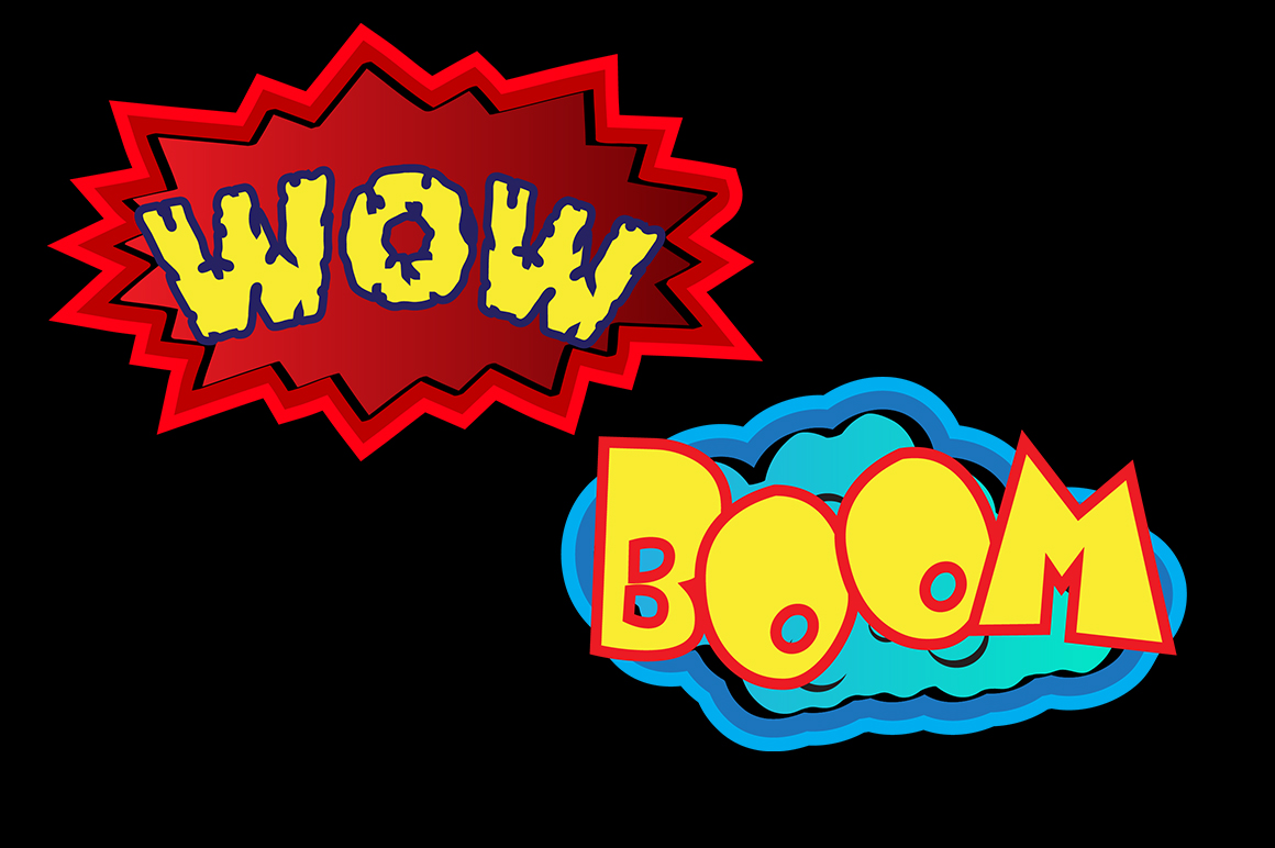 Boom clipart silhouette. Action signs svg vector
