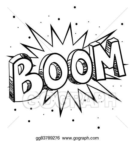 Boom clipart stock. Eps vector sketch illustration