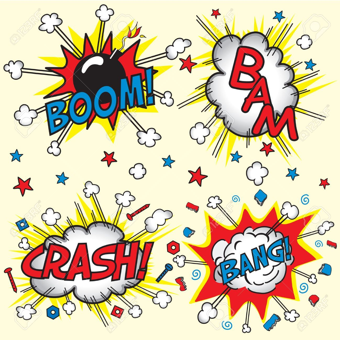 Boom clipart stock. Vector illustration and royalty