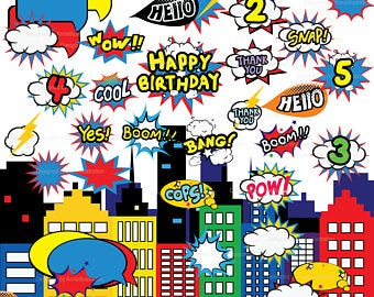 Boom clipart superheroclip. Superhero etsy