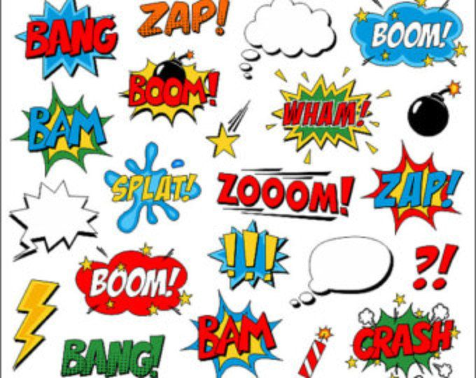 Instant download superhero clip. Boom clipart superheroclip