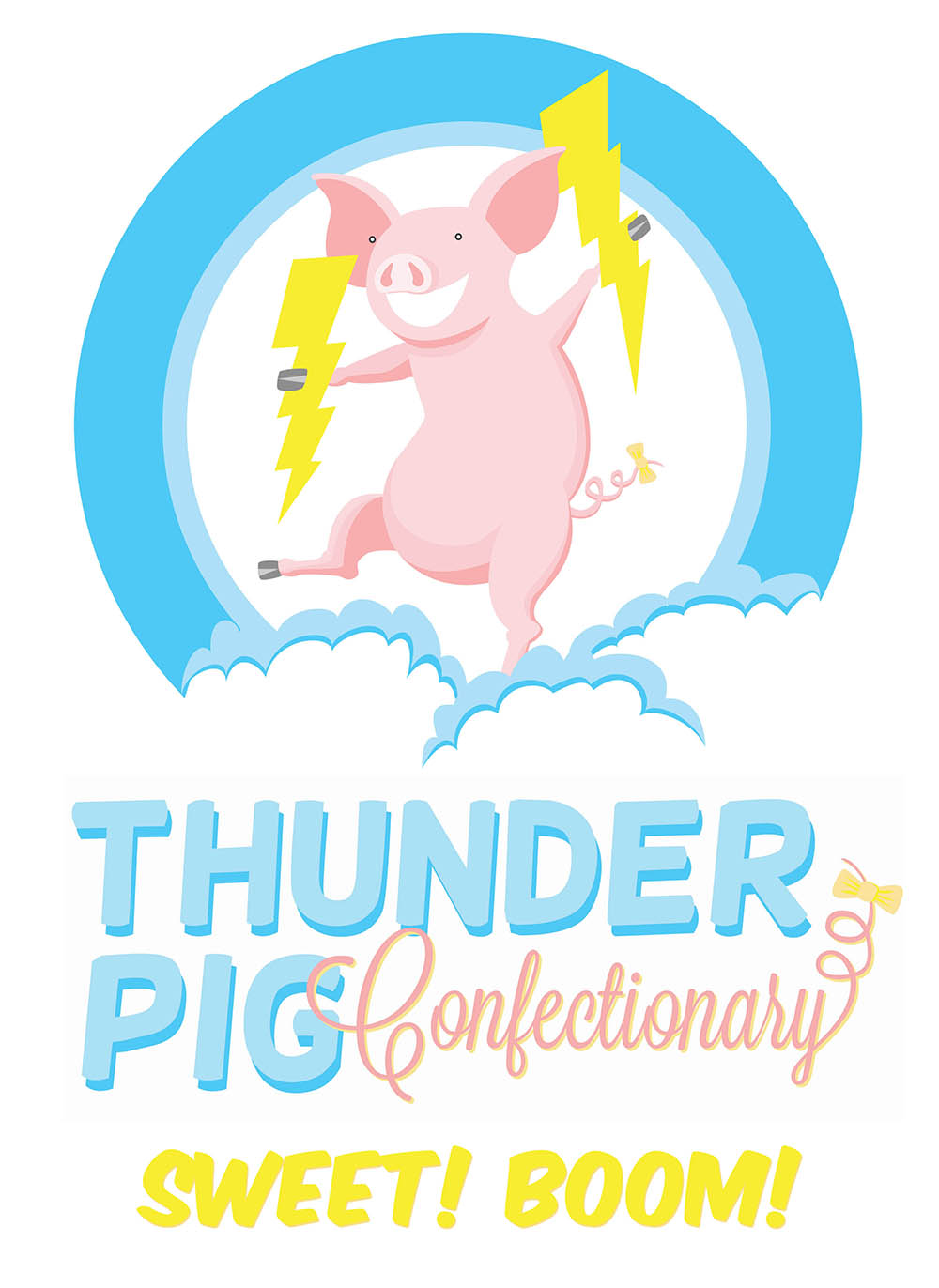 Boom clipart thunder. Union kitchen pig confectionery