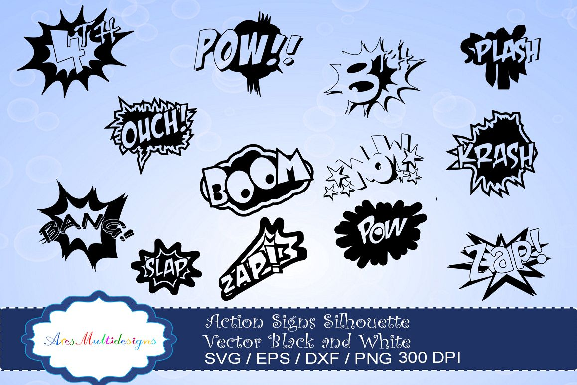 Boom clipart vector. Action signs svg silhouette