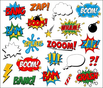 Superhero comic book speech. Boom clipart zap