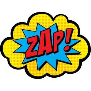 Boom clipart zap. Pow super hero words
