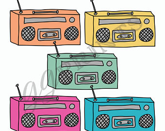 Etsy music planner vintage. Boombox clipart