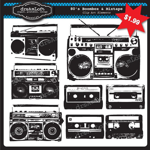 Boombox clipart. And mix tapes s