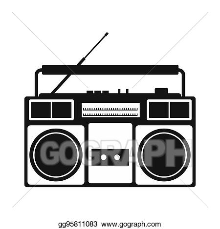 Simple icon stock illustration. Boombox clipart