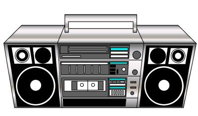 s boom box. 80's clipart stereo