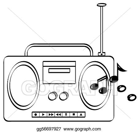 Boombox clipart animated. Stock illustration music stereo
