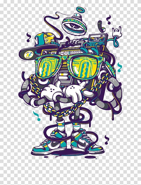 Boombox clipart animated. Wearing sunglasses illustration nike