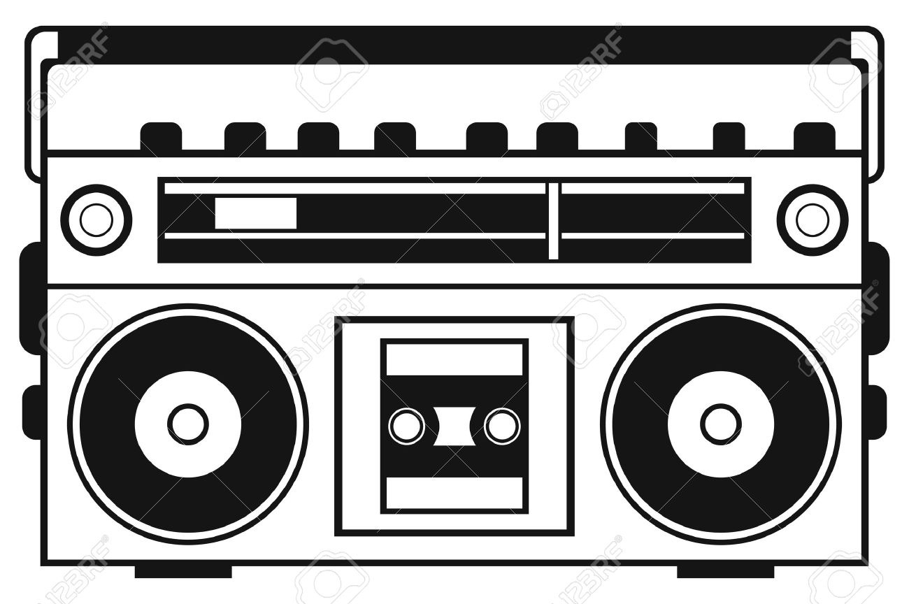 Boombox clipart black and white. Letters intended for