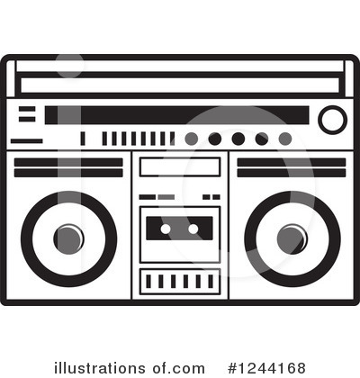 Radio station . Boombox clipart black and white