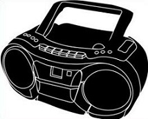 Free. Boombox clipart black and white